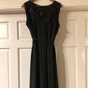 Marina Rinaldi Damerino Pleated Embellished Dress